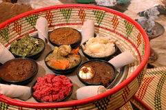 Ethiopian appetizer basket 2 Royalty Free Stock Images