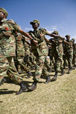 Ethiopian Army Soldiers Marching. Passed the Dignitaries at the 20th World Aids Day Event in Fitche, Ethiopia Stock Image