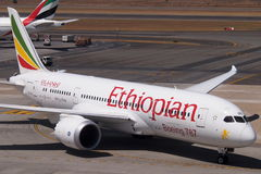 Ethiopian Boeing 787 Dreamliner. An Ethiopian Boeing 787, aka Dreamliner. This is currently the most efficient long haul passengers airplane and promises to be a Royalty Free Stock Photo