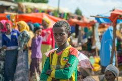 Ethiopian boy at a local market stock photography