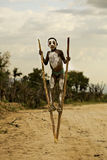 Ethiopian Boy on the stilts. Africa Royalty Free Stock Images