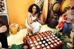 Ethiopian coffee. The traditional ethiopian coffee ceremony inside the coffee cluster at expo 2015 at milan in italy Stock Images