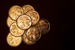 Ethiopian coins. Ten ethiopian coins 25 cents. Back royalty free stock photography