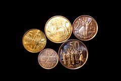 Ethiopian coins. Kit of ethiopian coins (1, 5, 10, 25 and 50 cents royalty free stock photos
