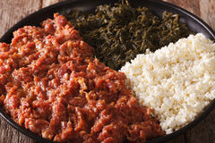 Free Ethiopian Cuisine: Kitfo With Greens And Cheese Ayibe Macro. Horizontal Stock Photography - 71682482