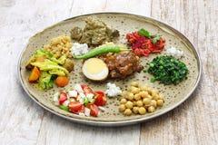 Ethiopian cuisine. One plate dinner Stock Photo
