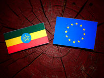 Ethiopian flag with EU flag on a tree stump isolated. Ethiopian flag with EU flag on a tree stump Stock Photo