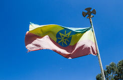 Ethiopian flag flying Stock Photo