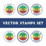 Ethiopian flag rubber stamps set. National flags grunge stamps. Country round badges collection Stock Photography