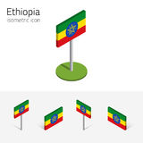 Ethiopian flag, vector set of 3D isometric flat icons. Ethiopian flag Federal Democratic Republic of Ethiopia, vector set of isometric flat icons, 3D style Stock Photos
