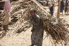 Ethiopian girl carrying heavy load Royalty Free Stock Photos
