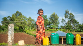 Ethiopian girl going for water near Addis Ababa, Ethiopia Royalty Free Stock Photography