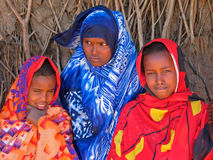 Ethiopian girls. Three young girls with traditional dresses in the Somali region of eastern Ethiopia stock image