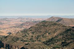 Ethiopian Highlands. Mountain range in Northern Ethiopia royalty free stock image