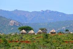 Ethiopian houses on the background of nature. Landscape nature. Stock Image