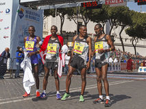 Ethiopian and Kenyan athletes in the marathon Royalty Free Stock Images