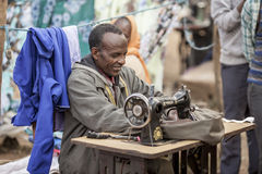 Ethiopian merchant sewing Royalty Free Stock Photo