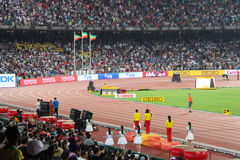 Ethiopian podium sweep in women's 5000 meters at the IAAF World Championships Beijing Royalty Free Stock Photos