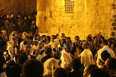 Ethiopian priests and monks singing and praying in Atrium in The Church of the Holy Sepulchre stock image