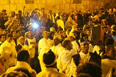 Ethiopian priests and monks singing and praying in Atrium in The Church of the Holy Sepulchre. Ethiopian priests and monks singing and praying in Atrium at the royalty free stock images