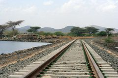 Ethiopian Railroad. Railway tracks running through a small town in Ethiopia Stock Photos