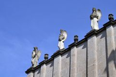 Ethiopian statues (room for text). Detail of the Church of the Holy Trinity, Addis Ababa royalty free stock photography