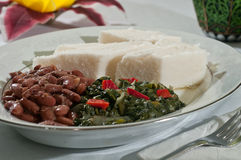 Ethiopian Ugali with vegetables Stock Photo