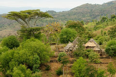 Ethiopian village in Omo valley. Traditional Ethiopian village Karat near Konso. Ethiopia Royalty Free Stock Image