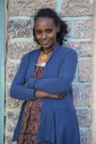 Ethiopian woman in front of her house. Royalty Free Stock Image