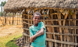 Ethiopian young boy in front of his home Stock Image