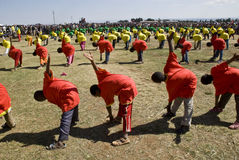 Ethiopian youth Perfoming Exercises Stock Images