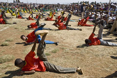 Ethiopian youth Perfoming Exercises Royalty Free Stock Photography