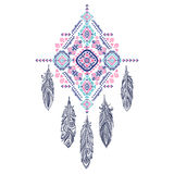 Улавливатель мечты орнамента вектора ацтекский мексиканский племенной Африканское ethn Стоковое Изображение RF