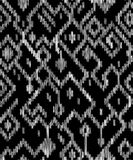 Ethnic abstract geometric ikat worn out pattern in black and white, vector stock illustration