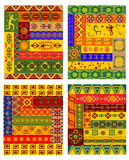 Ethnic abstract pattern in african style. Ethnic geometric pattern with traditional african ornaments including primitive hunters, animals and plants in warm Royalty Free Stock Photo