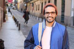 Ethnic adult student heading to school.  royalty free stock images