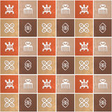 Ethnic african pattern with Adinkra simbols Stock Photos