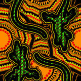 Ethnic african pattern with a lizard. Vector image Royalty Free Stock Photography