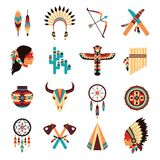 Ethnic american indigenous icons set. Ethnic american idigenous tribal amulets and symbols icons collection  with native feathers headdress abstract isolated Royalty Free Stock Photography
