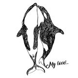 Ethnic Animal Doodle Detail Pattern - Killer Whale Zentangle Illustration. Fantasy sketch. Abstract monochrome drawing Isolated on a White background Royalty Free Stock Photo