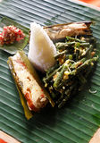 Ethnic asian food, fish dish with rice