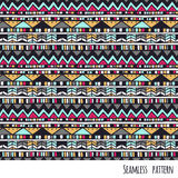 Ethnic aztec pattern. Seamless ethnic vector hand drawn pattern with geometric elements Royalty Free Stock Photography