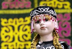 Ethnic baby doll of small peoples living in the north of Siberia in Russia royalty free stock photos