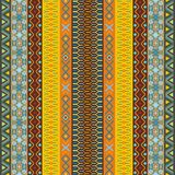 Ethnic background. Pattern with geometrically elements in different color motifs Vector Illustration