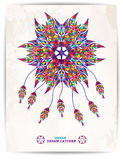 Ethnic background with abstract feathers design. Vector Dream Catcher. EPS10. Ethnic background with abstract feathers design. Vector Dream Catcher Royalty Free Stock Photos