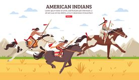 American Indians Cartoon Background. Ethnic background with armed american indians riding horses across prairie against mountains cartoon vector illustration Royalty Free Stock Image