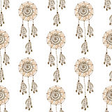 Ethnic background with dream catcher. Vector seamless pattern. Royalty Free Stock Photography