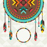 Ethnic background with dreamcatcher in navajo. Design Royalty Free Stock Image
