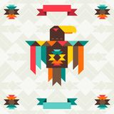 Ethnic background with eagle in navajo design Stock Photos