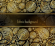 Ethnic background in gold and black colors. Stock Images